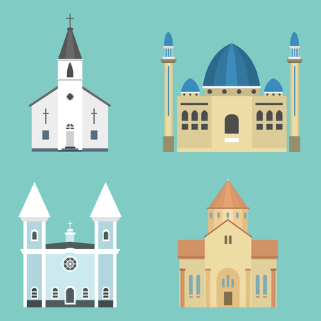 Cathedral church infographic traditional temple building landmark tourism vector illustration. World religions history place. Illustration