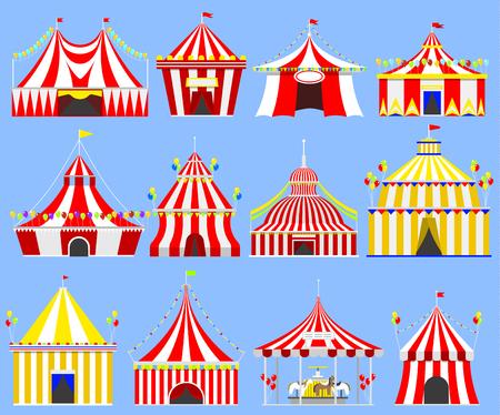 Circus tent marquee marquee 줄무늬와 플래그 카니발 엔터테인먼트 오락 lelements 플랫 벡터. 서커스 텐트 엔터테인먼트, 서커스 빨간 텐트. 카니발 텐트 공원