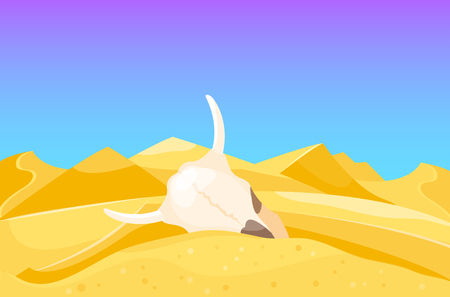 Desert mountains sandstone wilderness landscape background dry under sun hot dune scenery travel vector illustration. Environment scene sandstone africa outdoor adventure. Ilustração