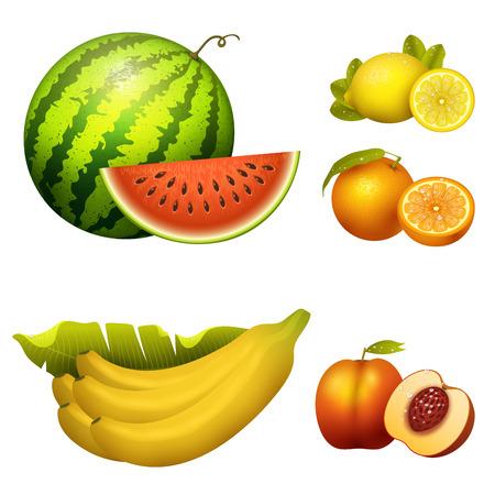 Ripe striped watermelon fruits slice realistic juicy banana healthy vector illustration. Slice green isolated ripe melon. Vegetarian diet freshness lemon dessert. Water refreshment delicious fruit. Stock Vector - 87213672