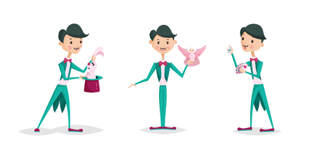 Cute magician character tricks vector illustration magic show cartoon man wizard circus. Surprise entertainment performance illusion male person wand profession Illustration