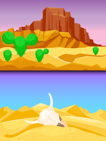 Desert mountains sandstone wilderness landscape background vector illustration.