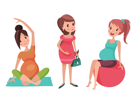 Pregnancy motherhood people and expectation concept happy pregnant woman character life with big belly vector illustration. Mother beautiful abdomen expectant parenthood. Ilustração