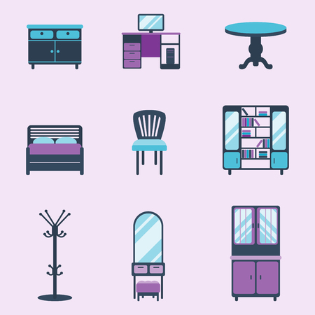 Furniture icons home design vector illustration.