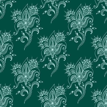ヘナ ・ タトゥーのシームレスなパターン一時的な刺青花落書き装飾装飾的なインディアン デザイン パターン ペイズリー アラベスク mhendi 装飾ベク