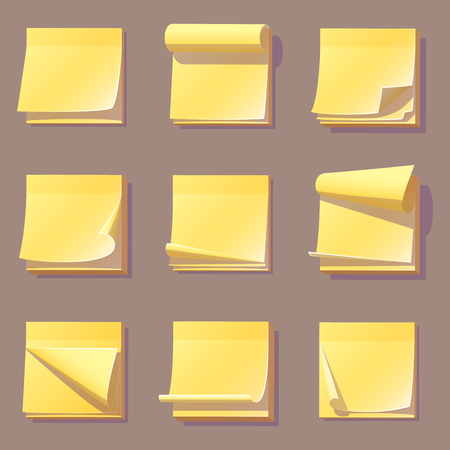 Yellow office sticky memory notes vector illustration.