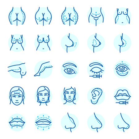 Plastic surgery body parts face correction infographic icons. Stock Illustratie