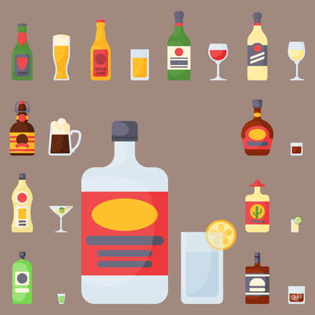 Alcohol drinks beverages cocktail whiskey bottle lager refreshment container and menu drunk concept different glasses vector illustration. Restaurant tequila rum party pub cognac. Illustration