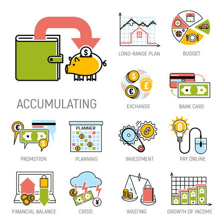 Set of financial icons. Imagens - 87280897