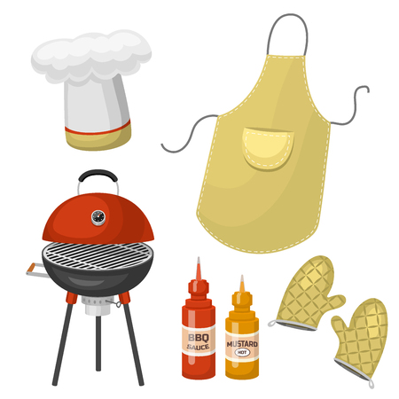 Grilling tools and ingredients icon. Illustration
