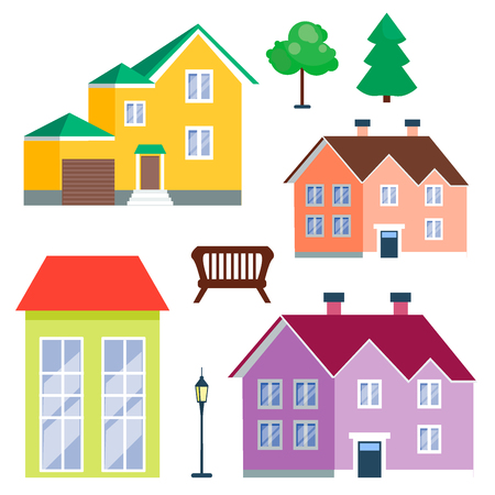 residential homes: Outdoor landscapes and houses icon. Illustration