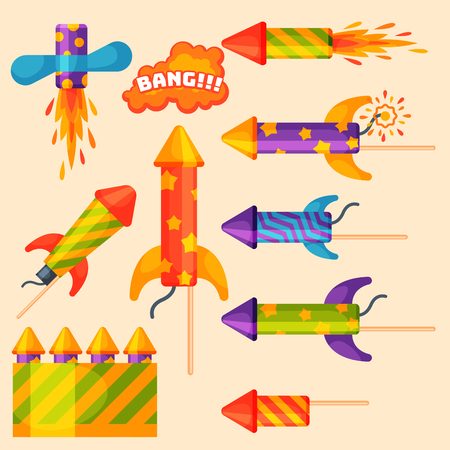 Set of firework rockets icon.