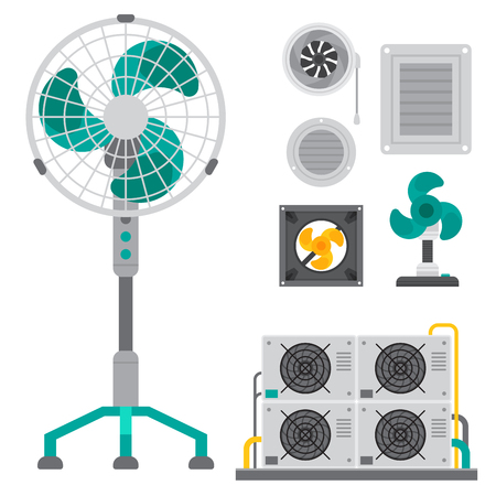 Set of different air coolers icon.