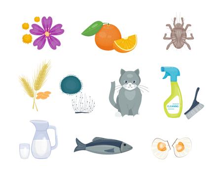 Allergiesymbolen ziektegezondheidszorgvoedselvirussen en vlakke het allergeensymptomen van de gezondheids vlakke ziekte de illustratie van de ziekengegevens. Stock Illustratie