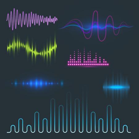 ベクトル デジタル音楽イコライザー オーディオ波デザイン テンプレート オーディオ信号の可視化信号図です。マルチ トラック編集システム サウンド トラック線バー スペクトル電子。 写真素材 - 87355832