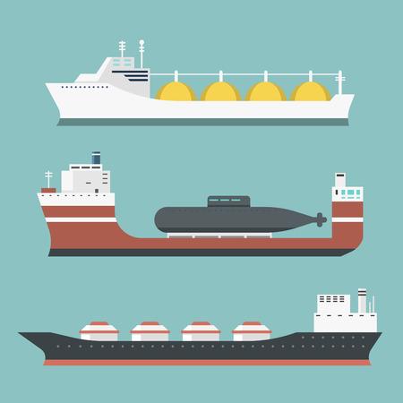 Set of delivery cargo vessels icon. Ilustração