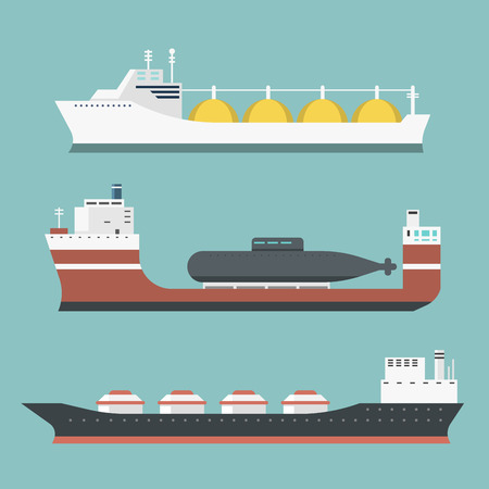 Set of delivery cargo vessels icon. Illustration