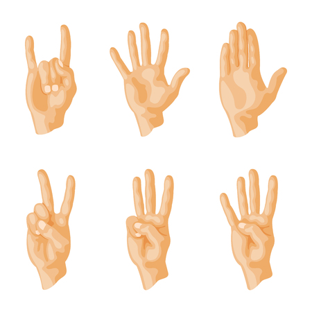 Hands deaf-mute different gestures human arm people communication message illustration.