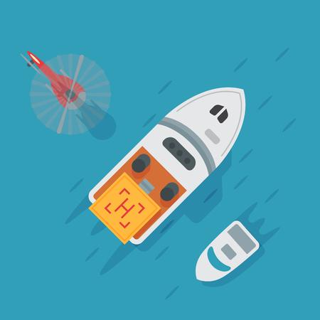 ヘリコプター パッド着陸水ボート地域プラットフォームです。  イラスト・ベクター素材