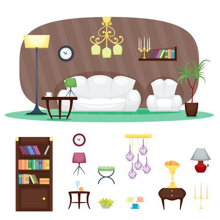 living room sofa: Furniture room interior design home decor concept icon.
