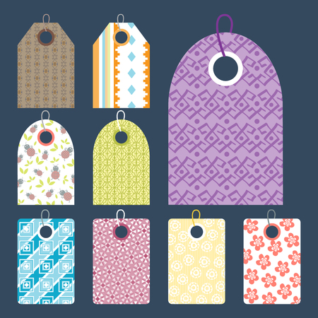 Stylish price clothes tag with pattern sale card stickers collection.