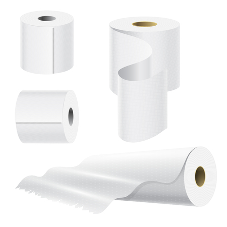 Realistic paper roll mock up set. Illustration
