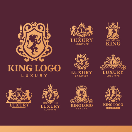 Luxury boutique Royal Crest high quality vintage product heraldry logo.