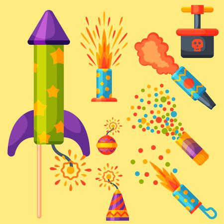 celebrate: Fireworks pyrotechnics rocket and flapper birthday party gift celebrate. Illustration