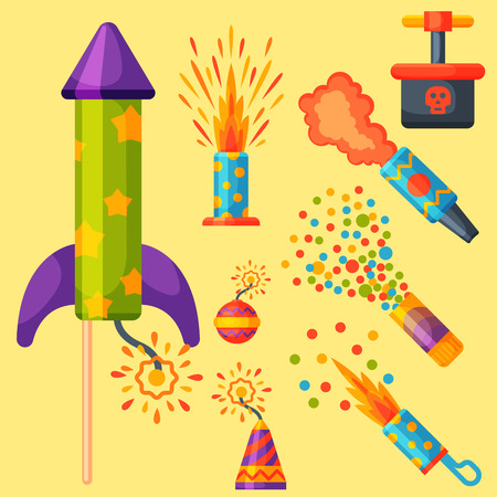 Fireworks pyrotechnics rocket and flapper birthday party gift celebrate. Illustration