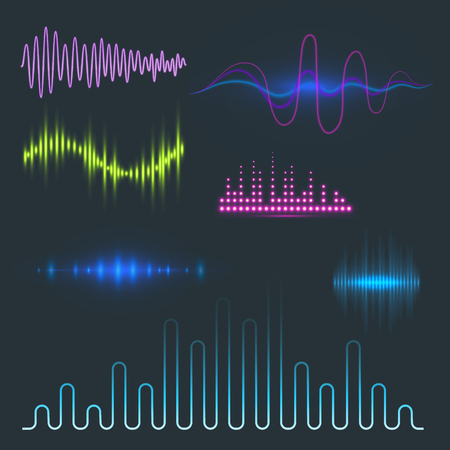 Digital music equalizer audio waves design.
