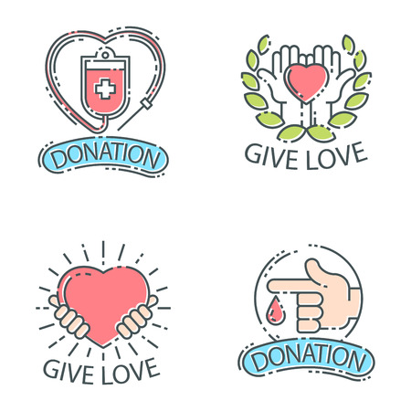Donate money set logo icons.