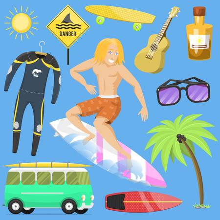 Surfing active water sport surfer summer time beach activities man windsurfing jet water wakeboarding kitesurfing vector illustration.