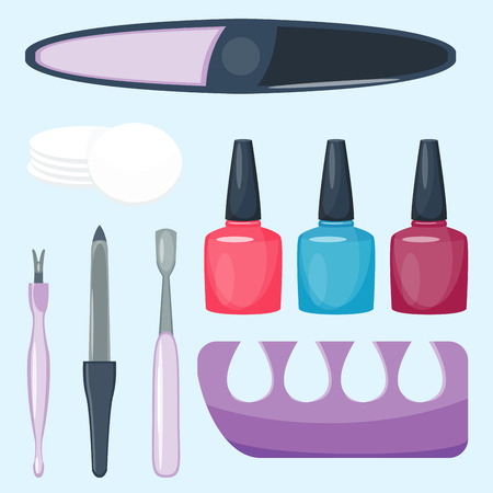 Manicure voet en handverzorging vingers instrumenten vector mode persoonlijke cosmetica apparatuur Stock Illustratie