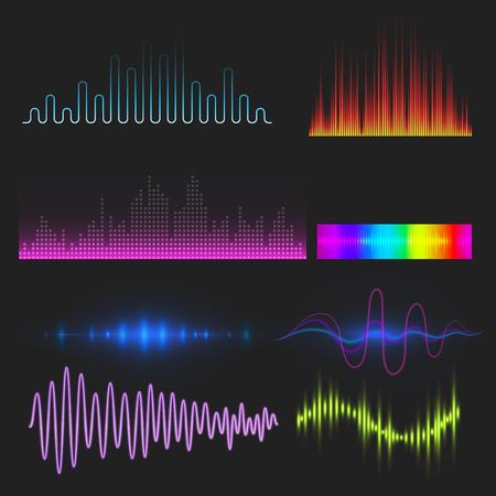 Vector digital music equalizer audio waves design template audio signal visualization signal illustration. Multitrack editing system soundtrack line bar spectrum electronic. Illusztráció
