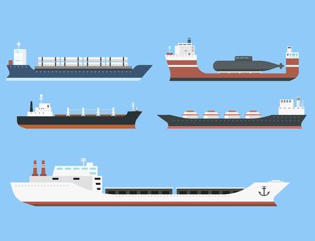 Reeks commerciële schepen van de leveringsvracht en tankers die van de de veerbootindustrieel goederen verschepen van de bulkcasertrein de industriële goederen zijaanzicht op de vectorillustratie van de achtergrondtankersboot wordt geïsoleerd