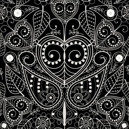 フローラルオディッシースタイルパターンオーナメントベクターイラストハンド描画ヘンナアジアンテキスタイルスタイルインド部族ペイズリー華
