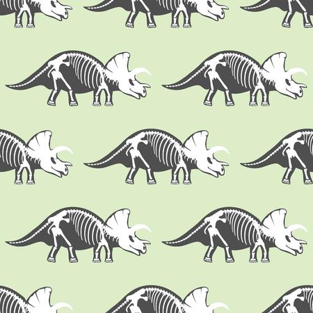 triceratops: Dinosaurs skeletons silhouettes seamless pattern fossil bone tyrannosaurus prehistoric animal and jurassic monster predator dino vector flat illustration.. Reptile extinct paleontology old bones.