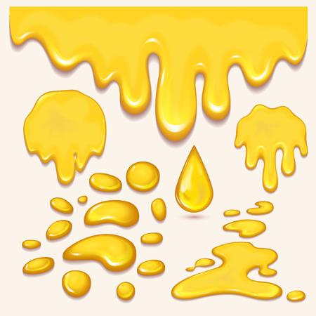 Set van oranje honing druppels en gele spatten gezonde siroop gouden voedsel vloeibare infuus vectorillustratie. Het zoete gouden stromende heerlijke druppeltje van de dessertplons. Stock Illustratie