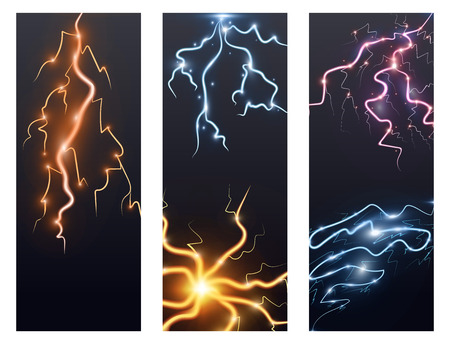 Power energy thunderbolt realistic lightnings with transparency flayer brochure thunder-storm magic and bright lighting effects vector illustration. Natural lightning bolt Ilustração