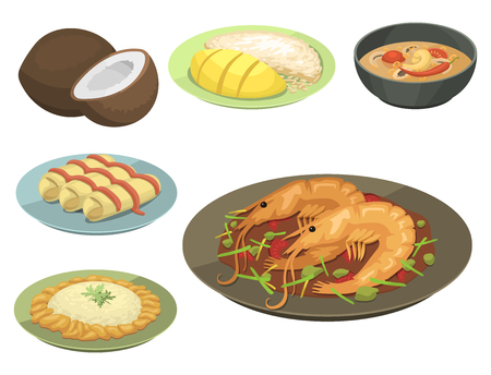 National traditional thai food thailand asian plate cuisine seafood prawn cooking delicious and hot ingredient dinner spicy bowl gourmet vector illustration. Healthy restaurant soup sauce. Stock Vector - 87527056