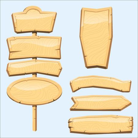 Répertoire bois panneau planche route bois tablette indicateur indice flèche tête vecteur Vecteurs