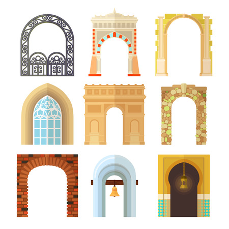 Arch design architecture construction frame classic, column structure gate door facade construction vector illustration.