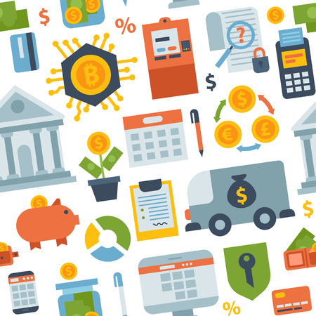 安全のシームレスなパターン背景ビジネス通貨カード金融預金銀行支払いベクトル図を銀行お金 finanse。Exchange 商業シンボル チェック投資支払い設  イラスト・ベクター素材