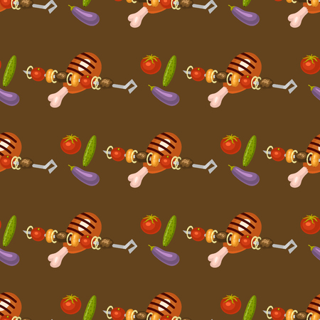 Barbecue home cooking seamless pattern background rarty dinner products bbq for grilling kitchen vector flat illustration. Barbecue kebab. Illustration