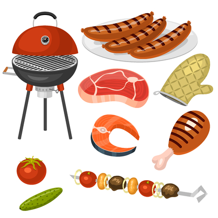 Barbecue home cooking or restaurant rarty dinner products bbq for grilling and kitchen equipment vector flat illustration. Barbecue kebab equipment symbols isolated