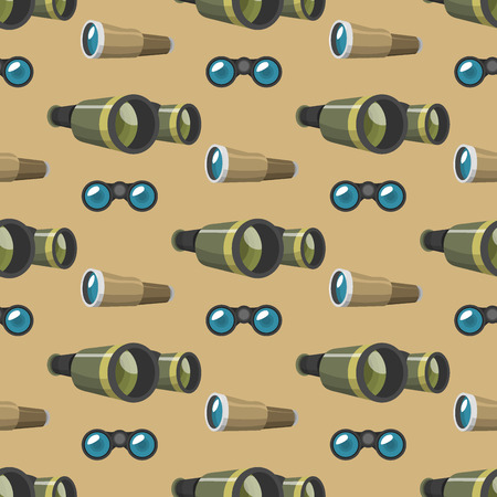 Professional camera lens binoculars seamless pattern glass look-see spyglass optic device camera digital focus optical equipment vector illustration. Night-vision technology look-see instrument.
