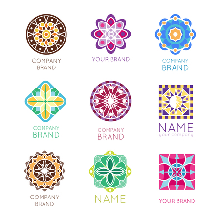 Abstract triangular polygonal shape kaleidoscope geometry company brand logo badge template circle decorative vector icon.. Oriental floral indian round abstraction ethnic mandala vintage motive. Ilustrace