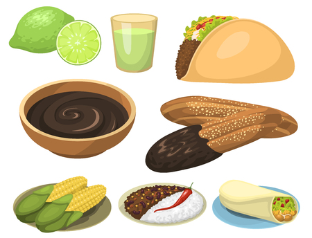 Mexikanische traditionelle Lebensmahlzeitplatten vector Illustration. Standard-Bild - 87571742