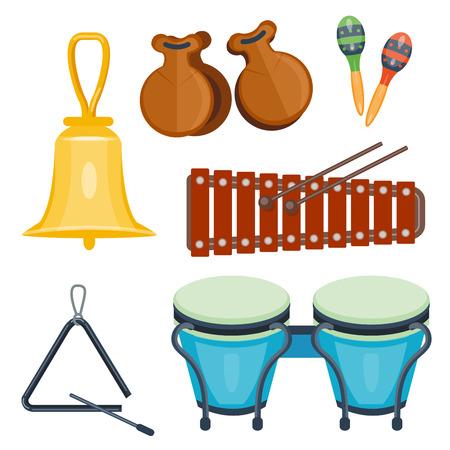 Musical drum wood rhythm music instrument vector illustration.