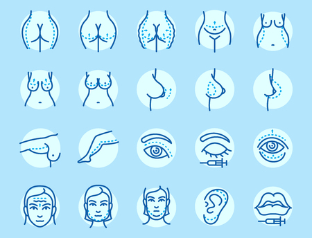 Plastic surgery body parts face correction infographic icons  vector illustration.